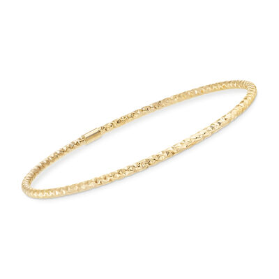 Italian 14kt Yellow Gold Faceted Bangle Bracelet, , default