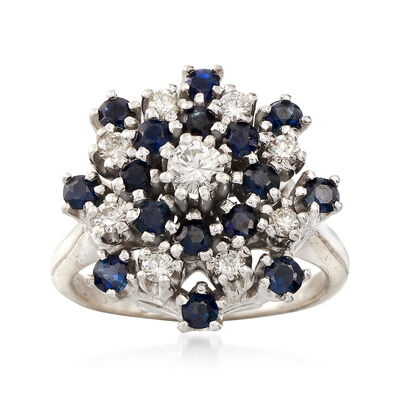 C. 1970 Vintage Sapphire and Diamond Cluster Ring in 14kt Yellow Gold