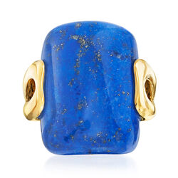 Rectangular Lapis Ring in 14kt Yellow Gold, , default