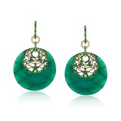 Green Onyx and 2.30 ct. t.w. Multi-Stone Drop Earrings With Diamonds in 18kt Yellow Gold, , default