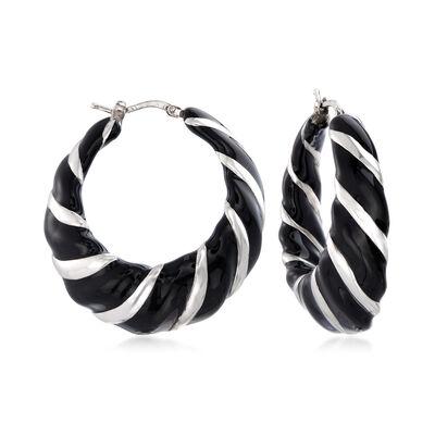 Italian Sterling Silver and Black Enamel Scallop Hoop Earrings