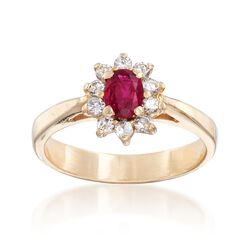 C. 1980 Vintage .40 Carat Ruby and .25 ct. t.w. Diamond Ring in 14kt Yellow Gold, , default