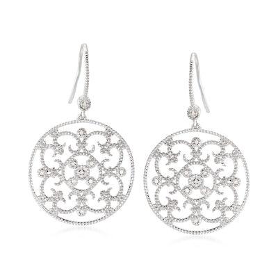 .20 ct. t.w. Diamond Openwork Floral Drop Earrings in Sterling Silver