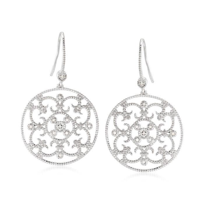 .20 ct. t.w. Diamond Openwork Floral Drop Earrings in Sterling Silver, , default