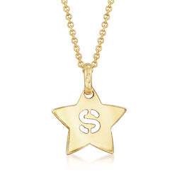 "14kt Yellow Gold Star Necklace With Cut-Out Initial ""S"" , , default"