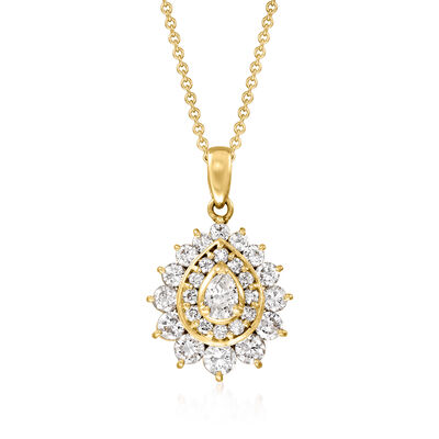 C. 1990 Vintage 1.01 ct. t.w. Diamond Cluster Pendant Necklace in 18kt Yellow Gold