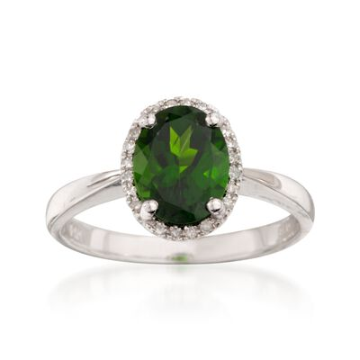 1.90 Carat Chrome Diopside Ring with Diamonds in 14kt White Gold, , default