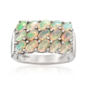 Ethiopian Opal and .10 ct. t.w. White Topaz Ring in Sterling Silver. Size 6, , default