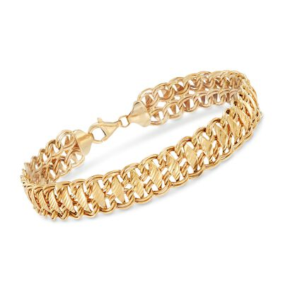 14kt Yellow Gold Marquise Link Bracelet, , default