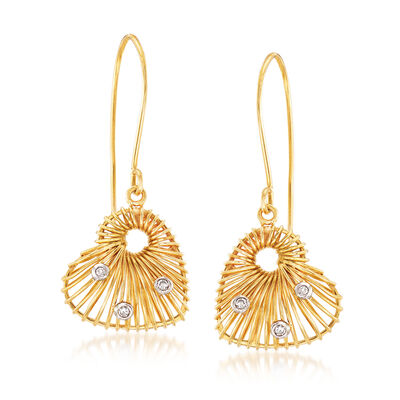 C. 2000 Vintage 18kt Yellow Gold Heart Drop Earrings with Diamond Accents, , default