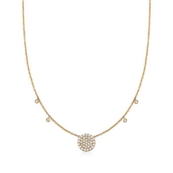 """Gabriel Designs .40 ct. t.w. Diamond Circle Station Necklace in 14kt Yellow Gold. 15.5"""", , default"""