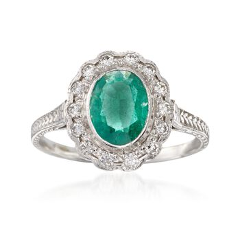 C. 1990 Vintage .75 Carat Emerald and .30 ct. t.w. Diamond Ring in 14kt White Gold. Size 5.75, , default