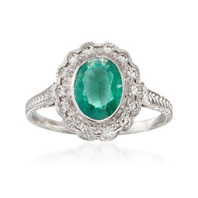 C. 1990 Vintage .75 Carat Emerald and .30 ct. t.w. Diamond Ring in 14kt White Gold, , default