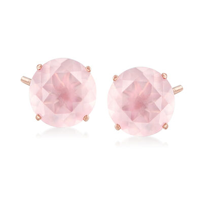 Round Rose Quartz Stud Earrings in 14kt Rose Gold, , default