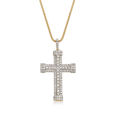 1.50 ct. t.w. Diamond Multi-Row Cross Pendant in 14kt Yellow Gold , , default