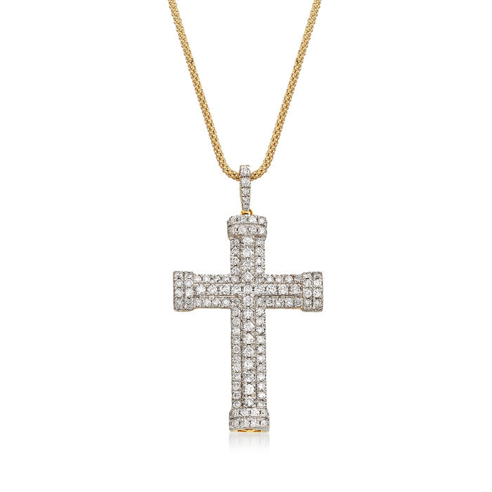 1.50 ct. t.w. Diamond Multi-Row Cross Pendant in 14kt Yellow Gold, , default