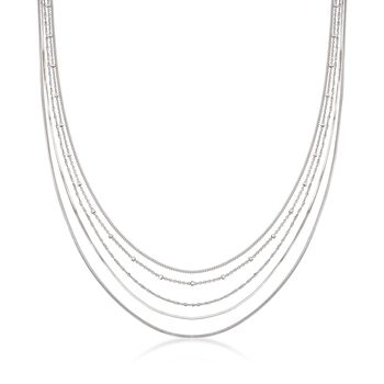 Italian Sterling Silver Layered Multi-Chain Necklace, , default