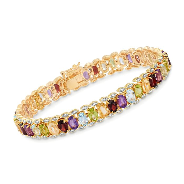"""16.20 ct. t.w. Multi-Stone Bracelet with Diamond Accent in Two-Tone Sterling Silver. 7"""", , default"""