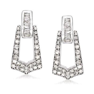 .50 ct. t.w. Diamond Drop Earrings in Sterling Silver, , default