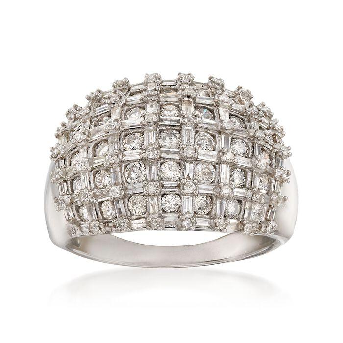 1.95 ct. t.w. Diamond Basketweave Ring in Sterling Silver, , default