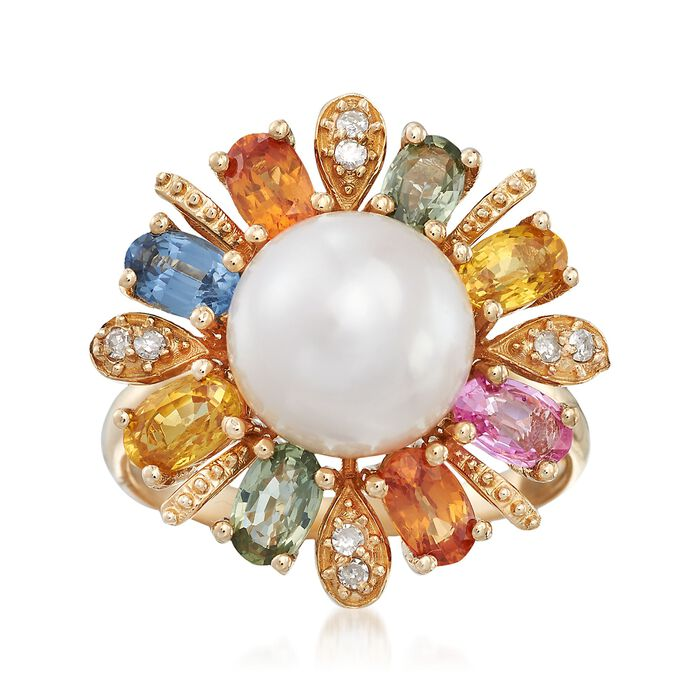 9.5-10mm Cultured Pearl and 2.30 ct. t.w. Multicolored Sapphire Ring With Diamond Accents in 14kt Gold, , default