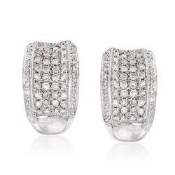 C. 2000 Vintage 2.20 ct. t.w. Diamond Half-Hoop Earrings in 14kt White Gold , , default
