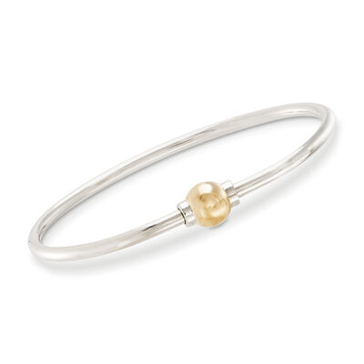 Cape Cod Jewelry Sterling Silver and 14kt Yellow Gold Bangle Bracelet, , default