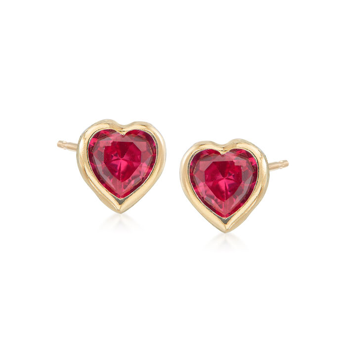 Child's Simulated Ruby Heart Stud Earrings in 14kt Yellow Gold, , default