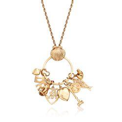 "C. 1990 Vintage 14kt Yellow Gold Multi-Charm Necklace. 32"", , default"