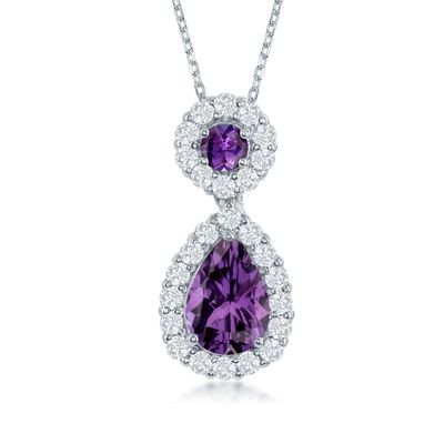 1.90 ct. t.w. Amethyst and .70 ct. t.w. White Topaz Pendant Necklace in Sterling Silver, , default