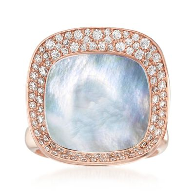 "Roberto Coin ""Carnaby Street"" .65 ct. t.w. Diamond and Mother-Of-Pearl Ring in 18kt Rose Gold"