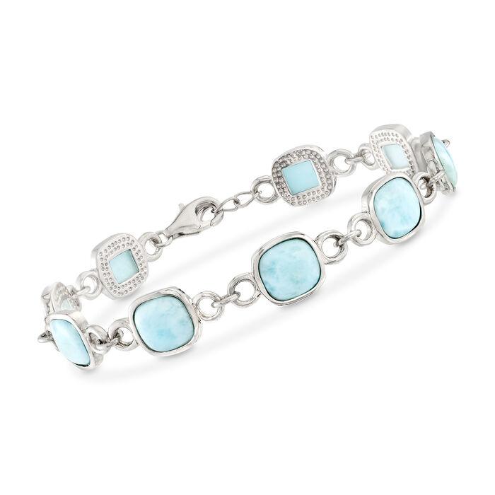 Square Larimar Bezel Bracelet in Sterling Silver, , default