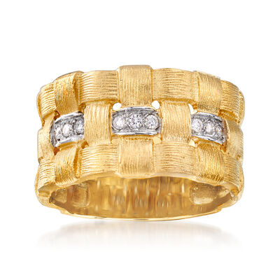 14kt Yellow Gold Basketweave Ring with Diamond Accents, , default