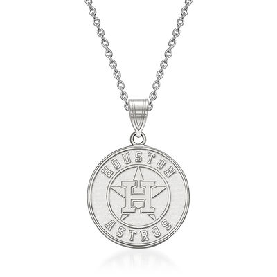 "Sterling Silver MLB Houston Astros Pendant Necklace. 18"", , default"