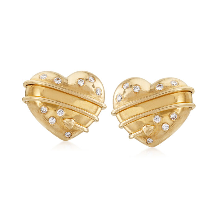 C. 1994 Vintage Tiffany Jewelry .25 ct. t.w. Diamond Heart Clip-On Earrings in 18kt Yellow Gold, , default