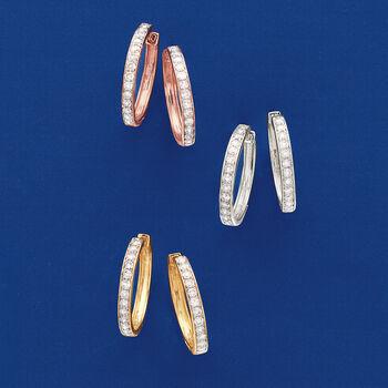 """1.00 ct. t.w. Diamond Hoop Earrings in 14kt White Gold. 3/4"""", , default"""
