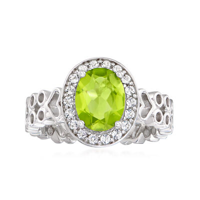 2.20 Carat Peridot Ring with .30 ct. t.w. White Topaz in Sterling Silver