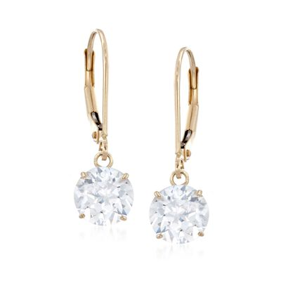 2.00 ct. t.w. CZ Drop Earrings in 14kt Yellow Gold, , default