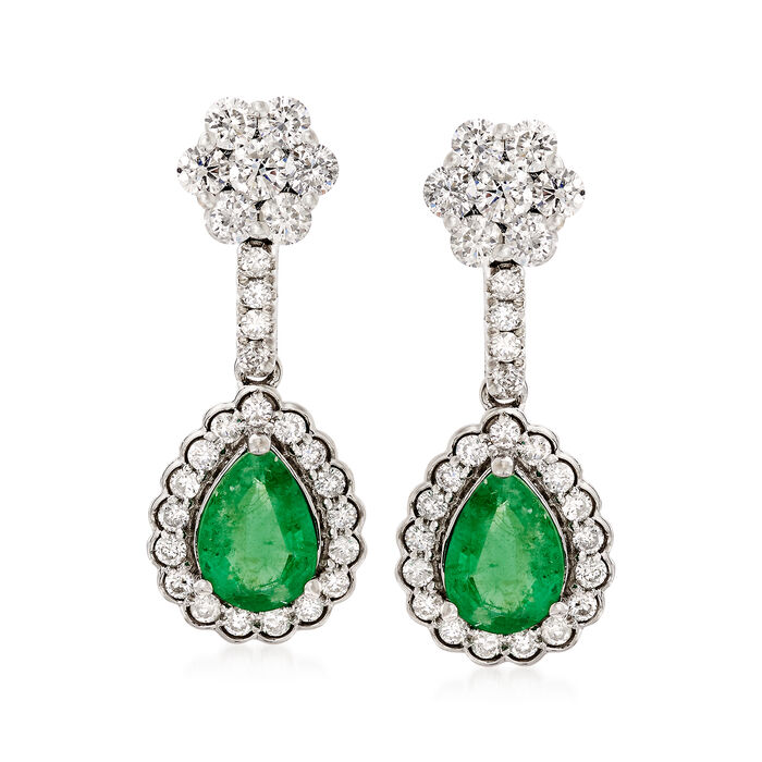 1.40 ct. t.w. Emerald and .95 ct. t.w. Diamond Drop Earrings in 18kt White Gold, , default