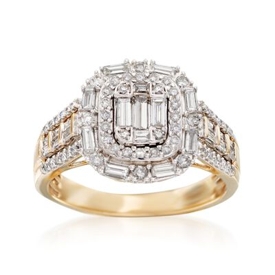 .99 ct. t.w. Baguette and Round Diamond Ring in 14kt Yellow Gold