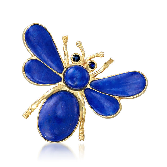 Lapis and .10 ct. t.w. Sapphire Bee Pin in 14kt Yellow Gold, , default