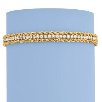 Italian 2.30 ct. t.w. CZ Rope Chain Bracelet in 14kt Yellow Gold, , default