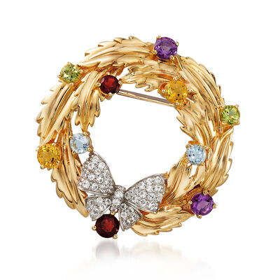1.60 ct. t.w. Multicolored Multi-Stone Wreath Pin Pendant in 18kt Gold Over Sterling, , default