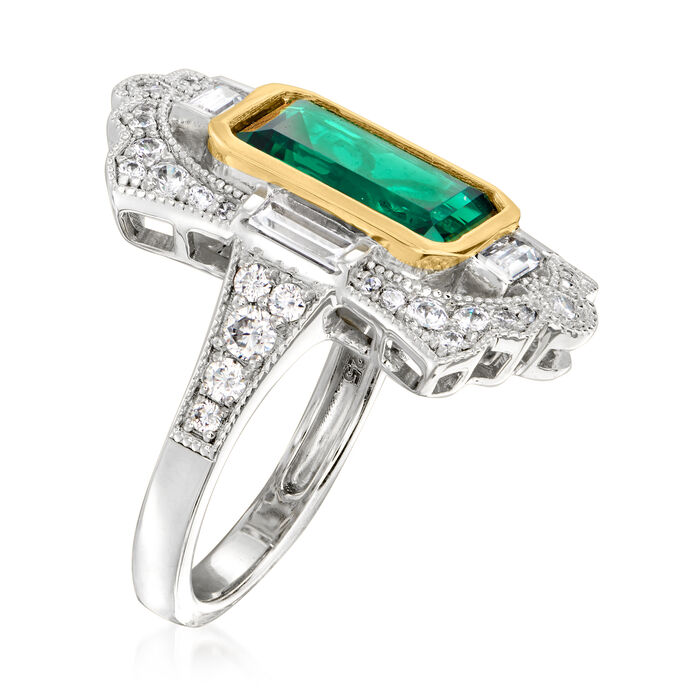 5.50 Carat Simulated Emerald and 1.20 ct. t.w. CZ Ring in Sterling Silver with 18kt Gold Over Sterling