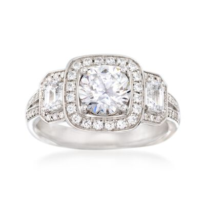 Simon G. .79 ct. t.w. Diamond Halo Engagement Ring Setting in 18kt White Gold, , default