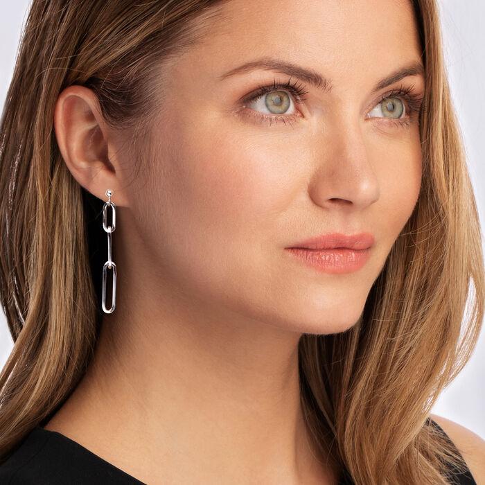 Italian Sterling Silver Paper Clip Link Linear Drop Earrings