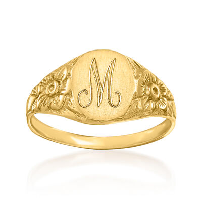 Single Initial 14kt Yellow Gold Floral Signet Ring