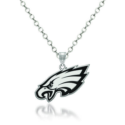 "Sterling Silver NFL Philadelphia Eagles Enamel Pendant Necklace. 18"""