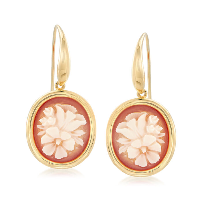 Italian Floral Shell Cameo Drop Earrings in 18kt Gold Over Sterling, , default