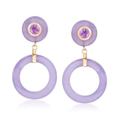 Lavender Jade and .80 ct. t.w. Amethyst Open-Circle Drop Earrings in 14kt Yellow Gold, , default